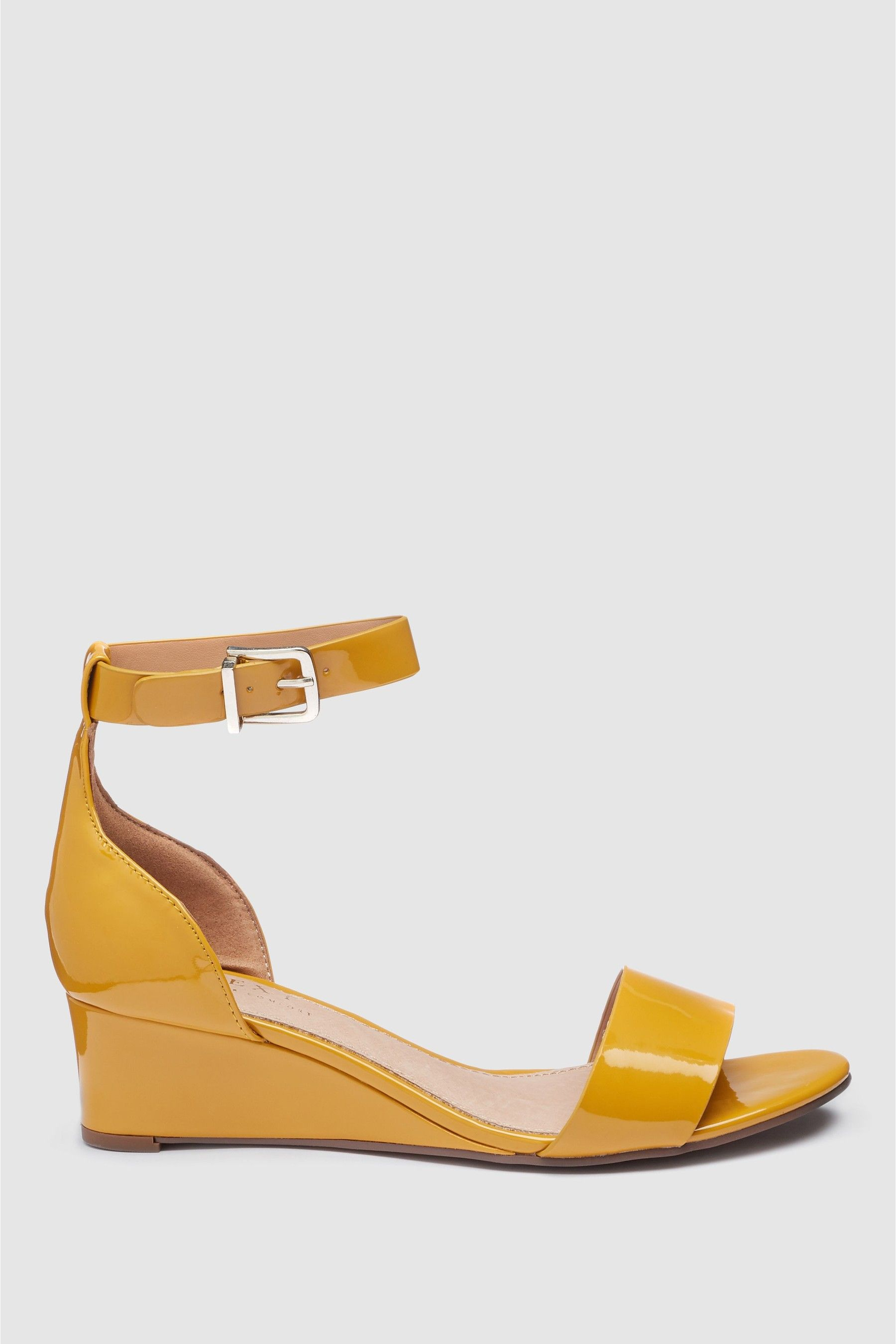 eaa2a963bf2a Womens Next Ochre Patent Forever Comfort Simple Wedges - Yellow in ...