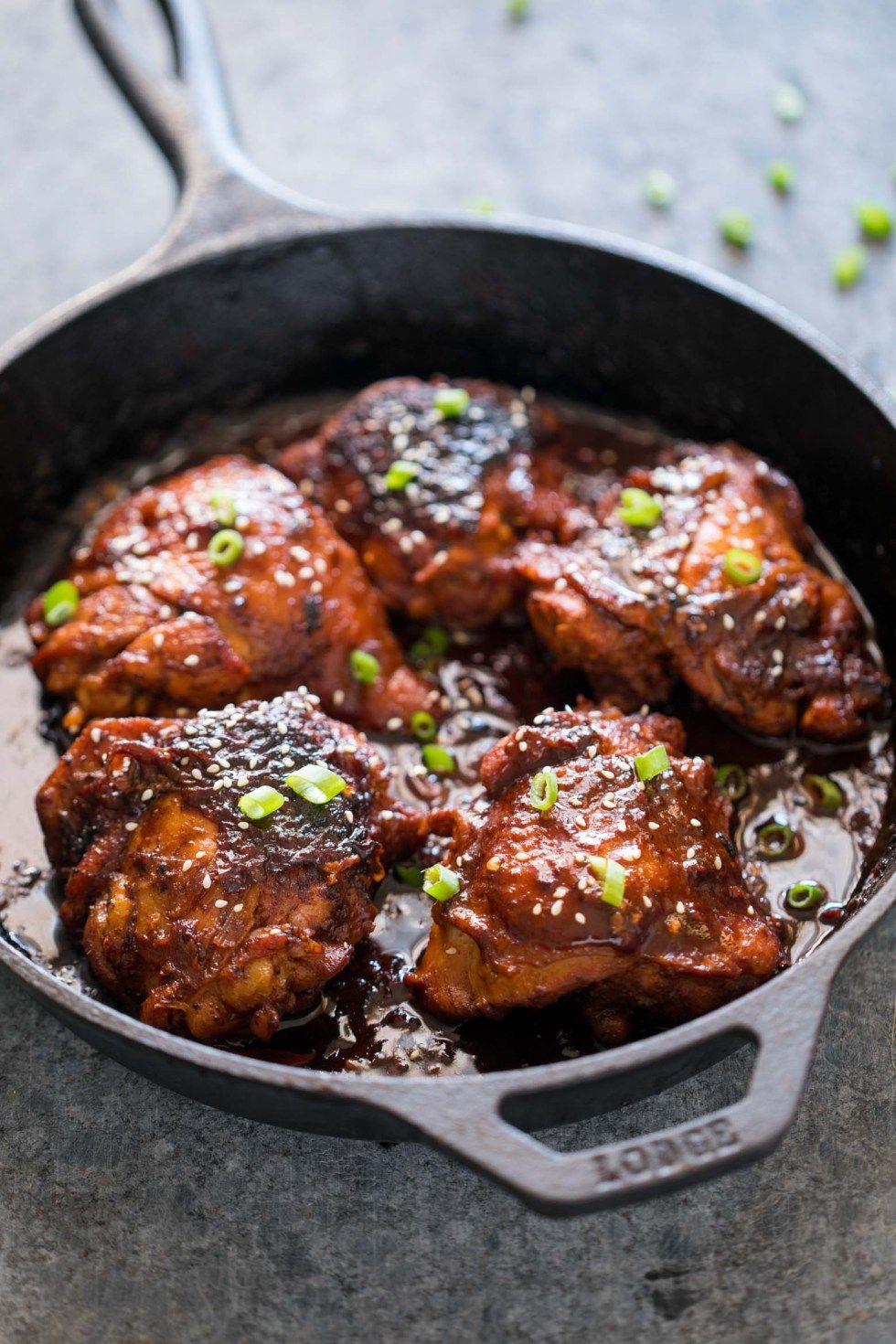 Spicy Korean Chicken Thighs In Gochujang Sauce Recipe Chicken Thights Recipes Spicy Korean Chicken Korean Chicken