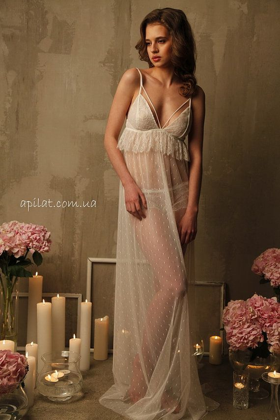 664699e83aa Long Tulle Bridal Nightgown With Lace by Alingerie