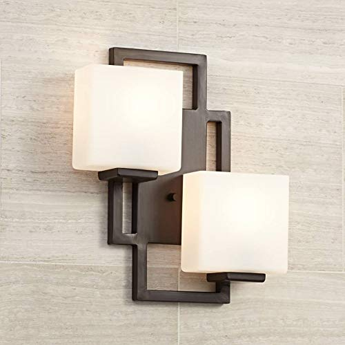 Lighting On The Square Modern Wall Light Bronze 15 1 2 Square Glass Sconce Fixture For Bathroom Side Bronze Wall Sconce Modern Wall Lights Wall Sconce Hallway