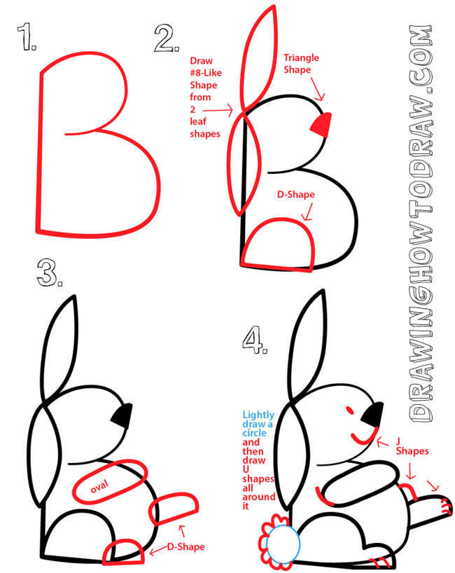 0993fd24b2 Big Guide to Drawing Cartoon Bunny Rabbits with Basic Shapes for ...