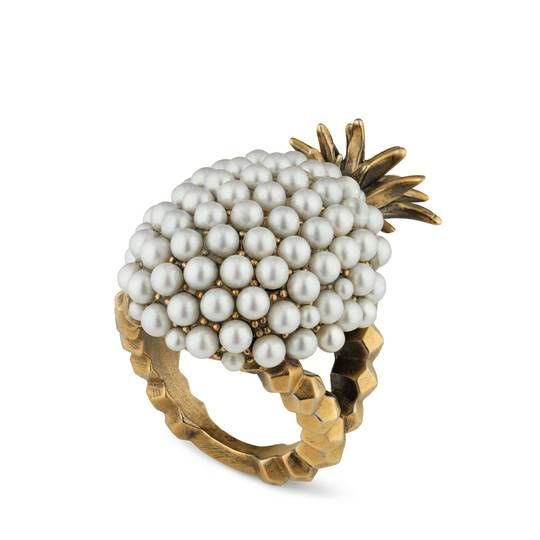 170429cbc Pearl studded pineapple ring in metal   GUCCI