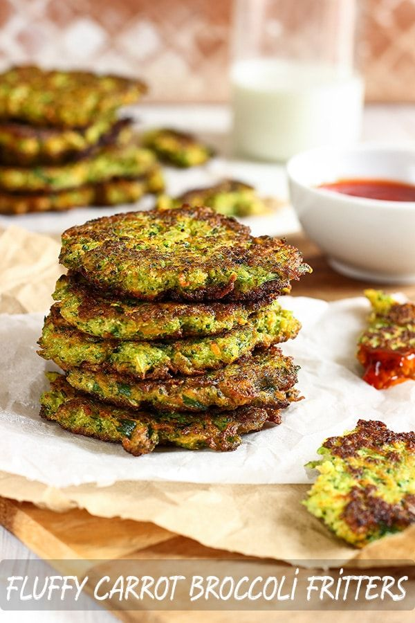 Fluffy Carrot Broccoli Fritters Fluffy carrot broccoli fritters recipe. If you are looking for meat-free alternatives or want to include more veggies in your diet these vegetable patties are for you. Ready in 30-minutes.