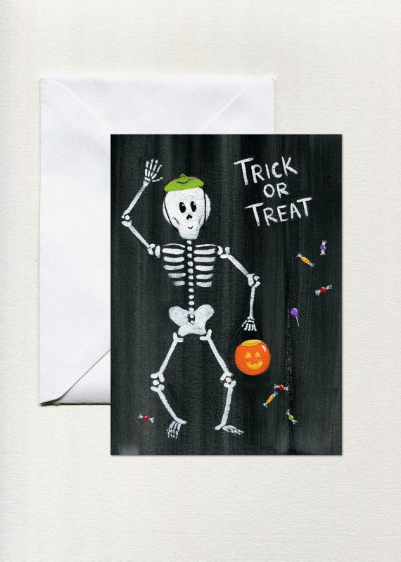 Skeleton trick or treat halloween greeting cards single folded skeleton trick or treat halloween greeting cards single folded card beetleandbirchsy m4hsunfo