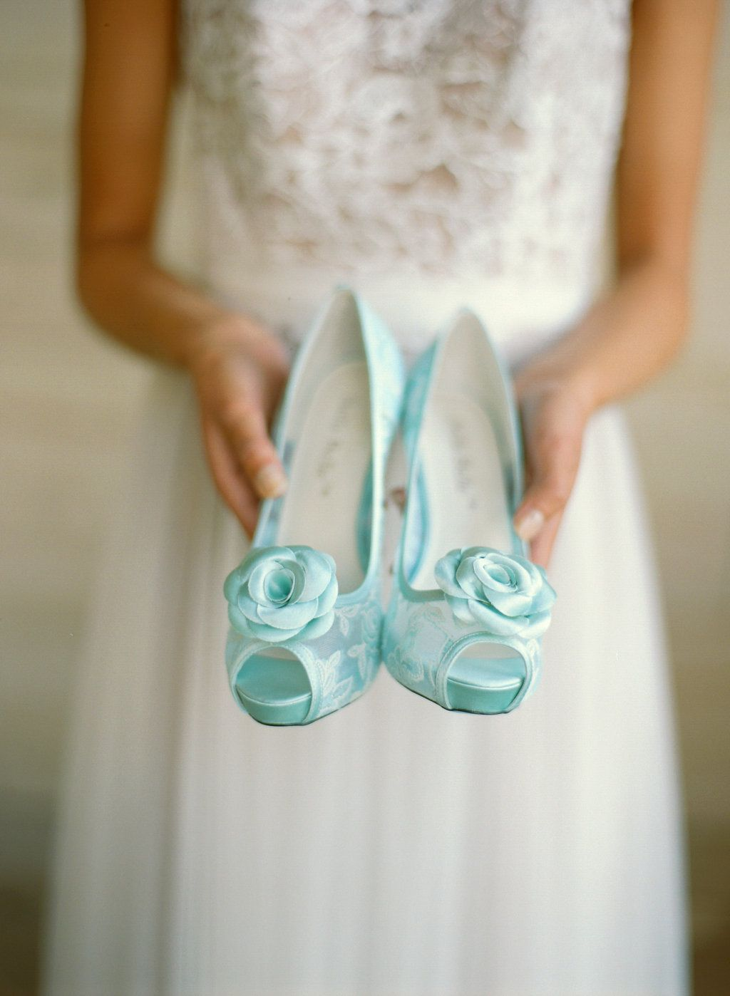 Something blue mint lace wedding shoes with rosette clips by bella