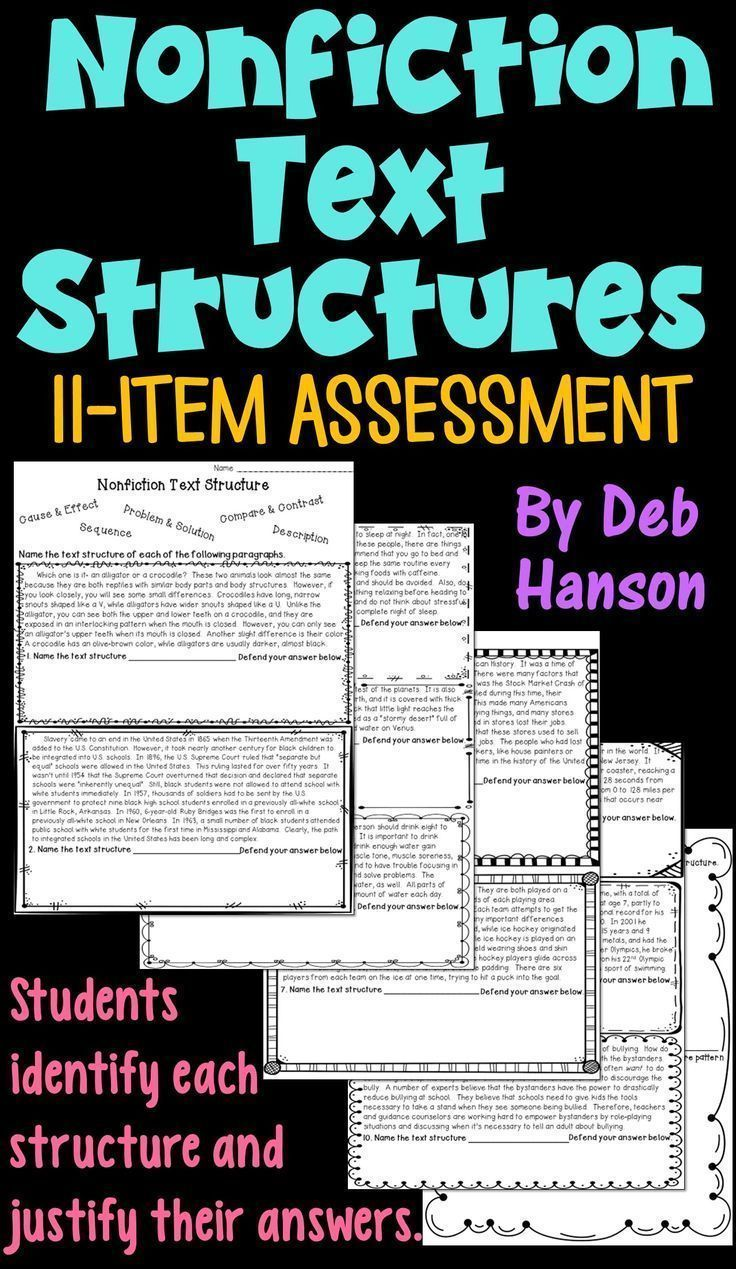 Informational Text Structure Assessment (or worksheet