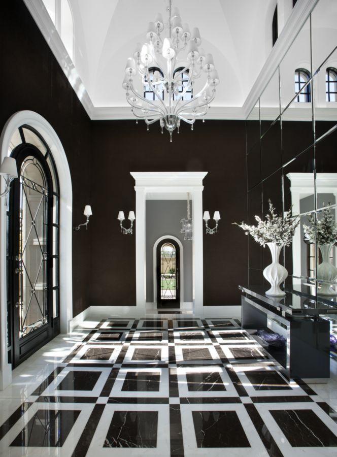 Salcito Custom Homes Black White Hallway White Decor