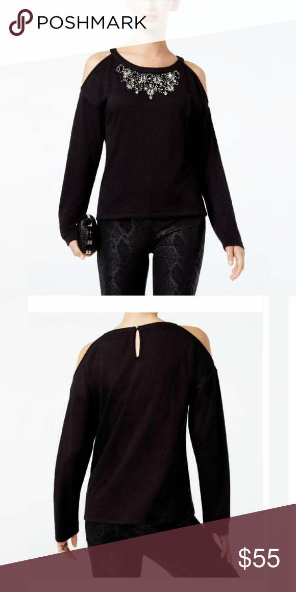 b8b395c3f92353 INC Rhinestone-Embellished Cold-Shoulder Top Size: M Color: Deep Black INC