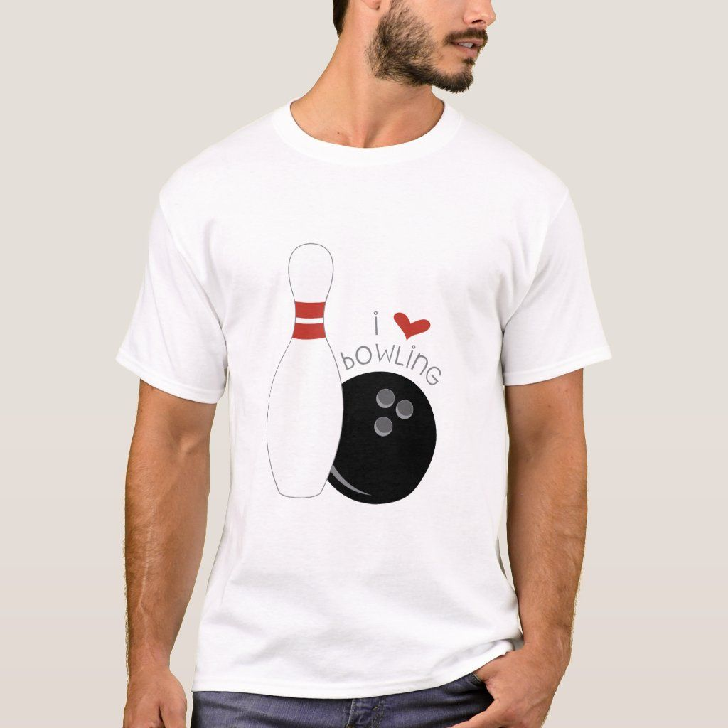 I Love Bowling T-shirt, Men's, Size: Adult S, White Gender: male.