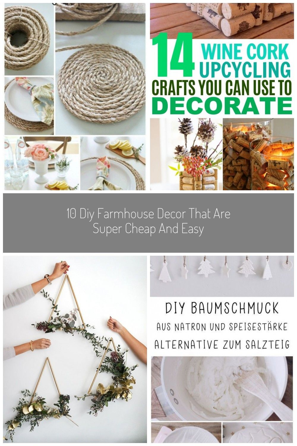 Super Easy And Cheap Diy Farmhouse Decor Ideas For Your Home Pottery Barn Inspired Round Jute Placemats And Others Diy Diy Home Decor Baumschmuck Salzteig Und Frau
