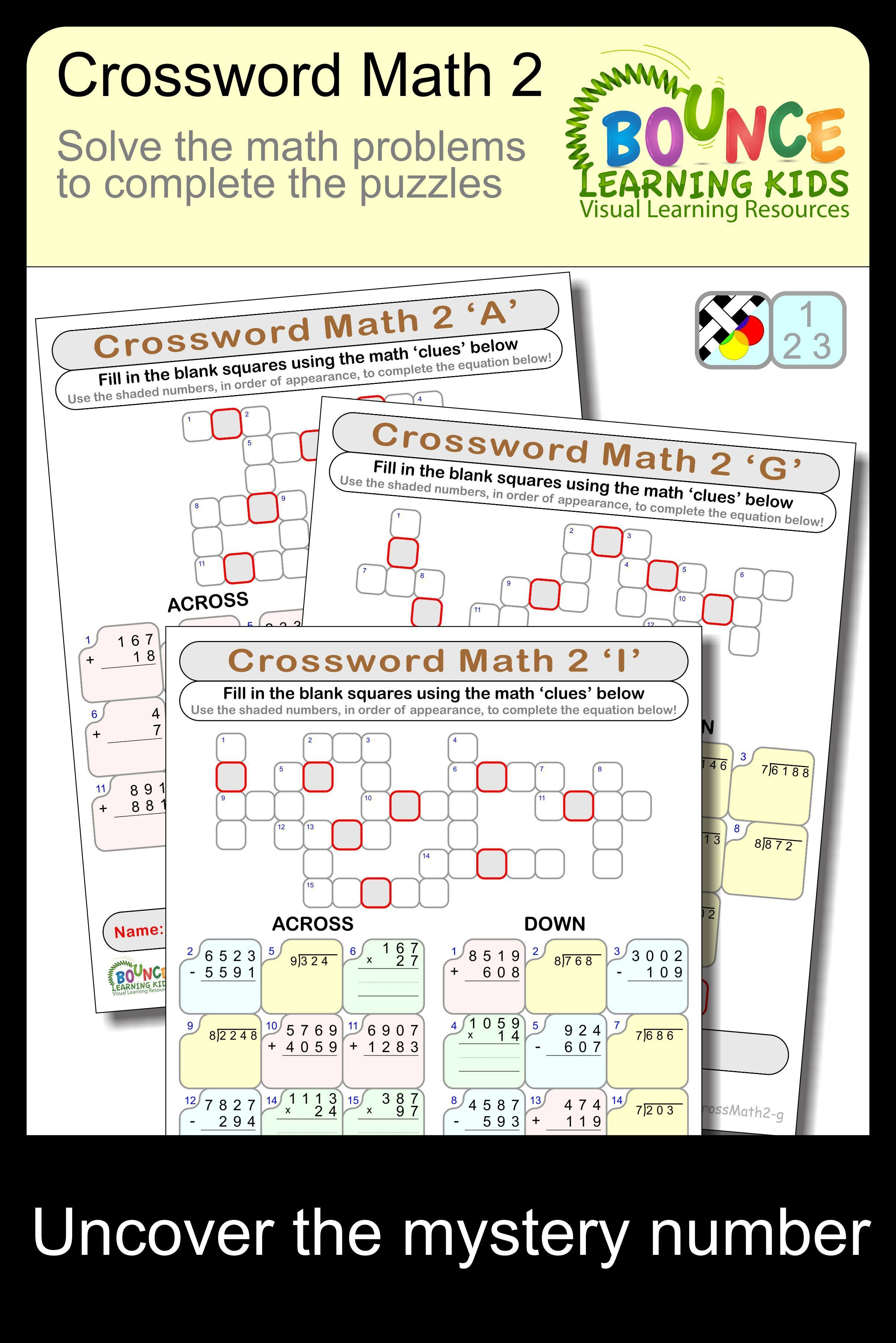 Crossword Math 2 21 Distance Learning Worksheets For