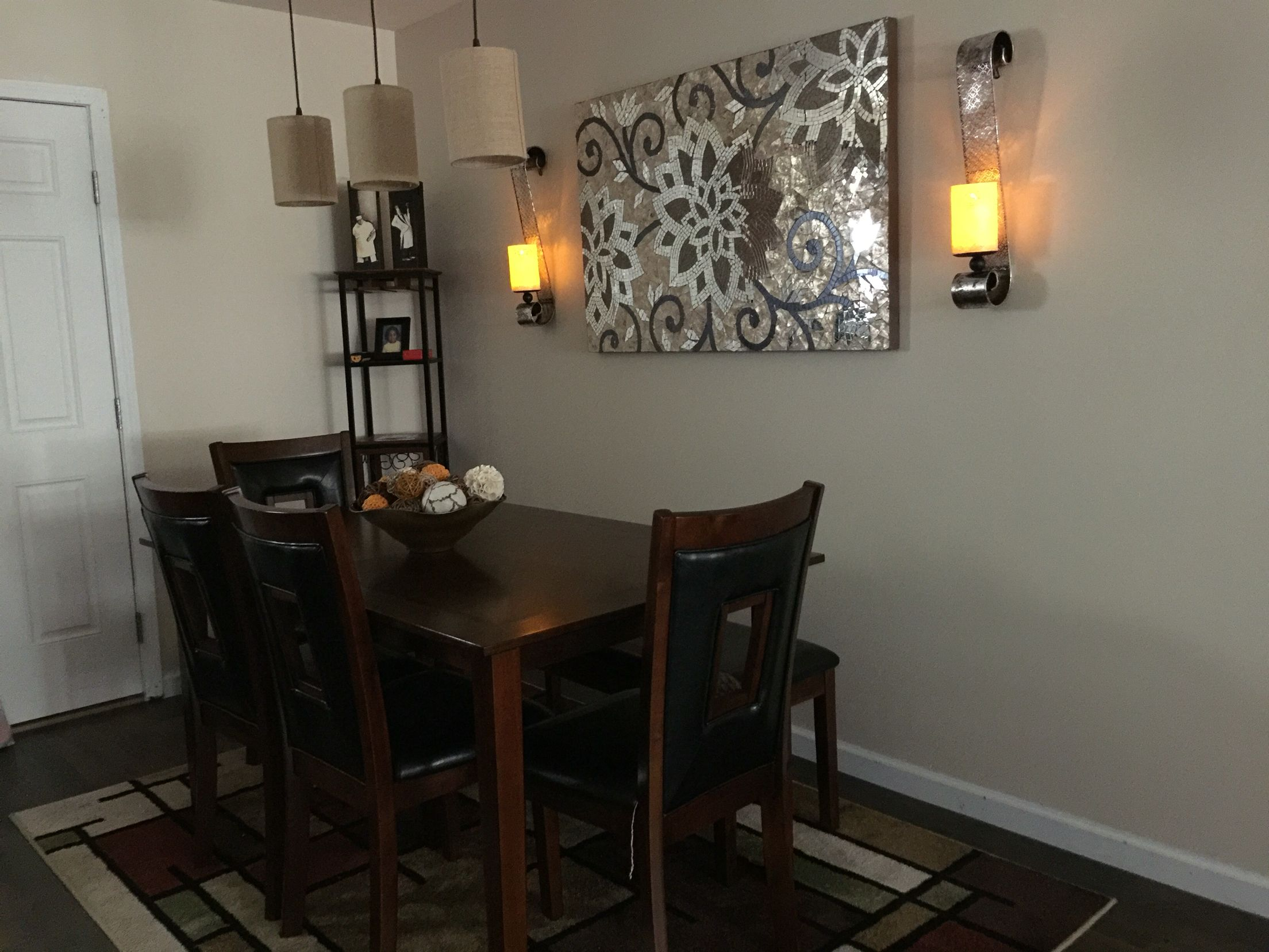 Remodeled dining room new oak flooring new lighting new dining