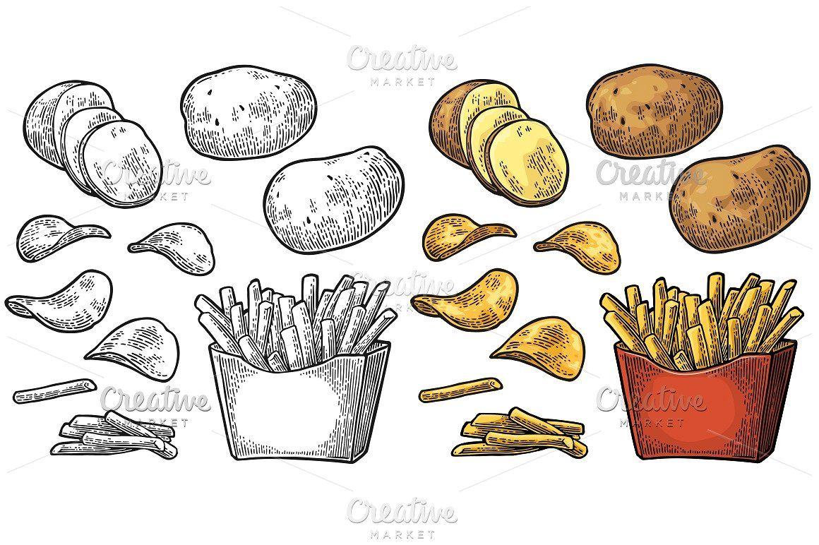 15+ Potato Chips Clipart Black And White