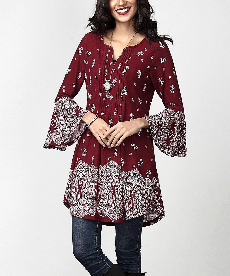 Take a look at this Burgundy Border Notch Neck Tunic today!