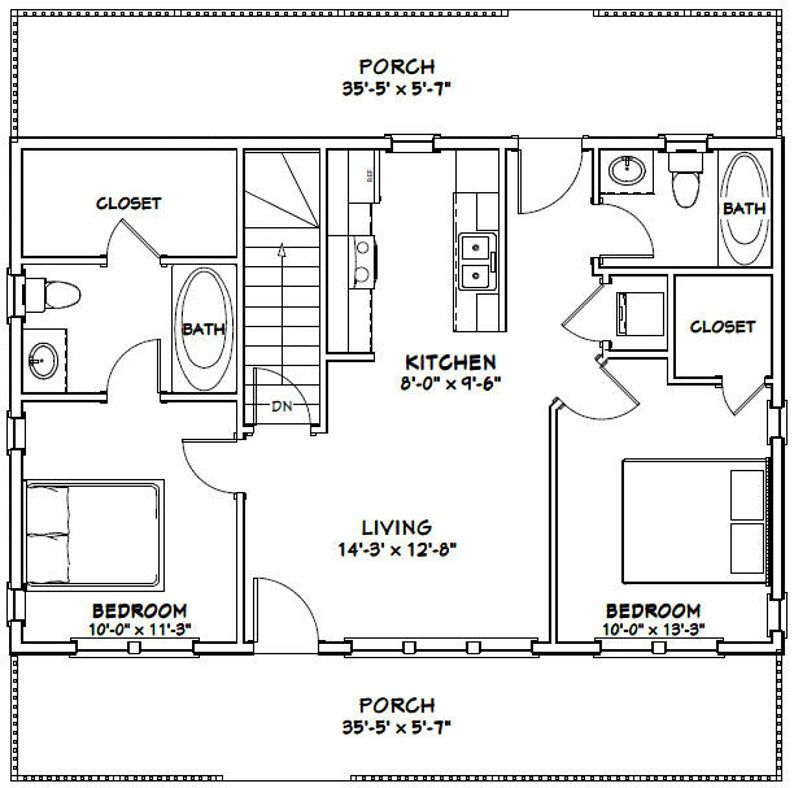 36x24 House 2 Bedroom 2 Bath 812 Sq Ft Pdf Floor Plan Etsy In 2020 Small House Floor Plans Floor Plans Cabin Floor Plans