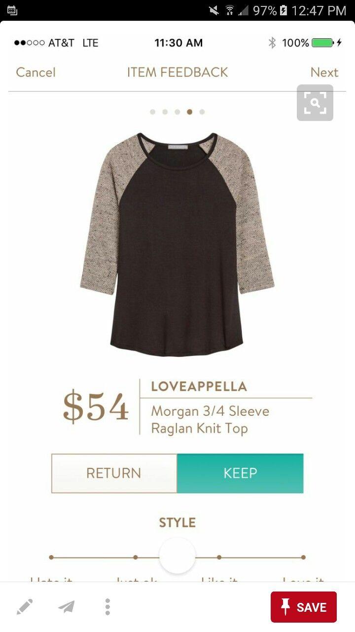 Loveappella Morgan 3/4 Sleeve Raglan Knit Top