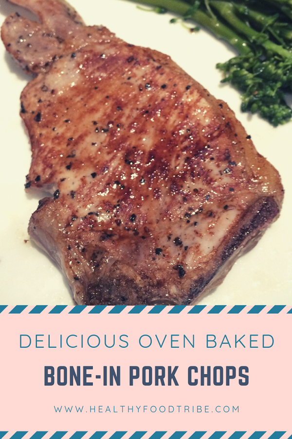 Oven Baked Bone-In Pork Chops #ovenbakedporkchops A quick and easy recipe for delicious oven baked bone-in pork chops. It's the simple yet flavorsome seasoning that makes this recipe a winner! #pork #porkchops via @hftribe #ovenbakedporkchops