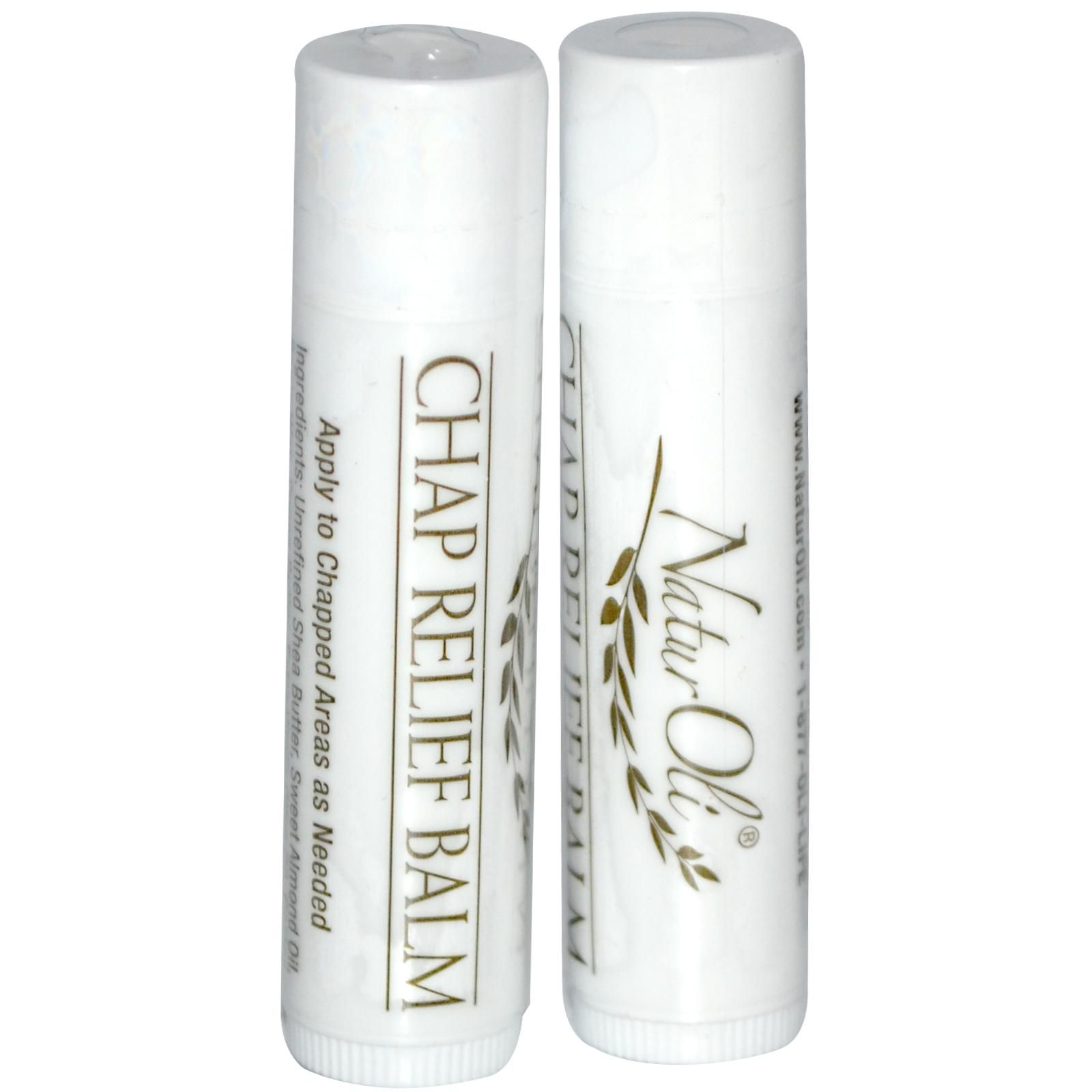NaturOli, Natural Chap Relief Balm, Peppermint, 2 Pack, 0.15 oz Each