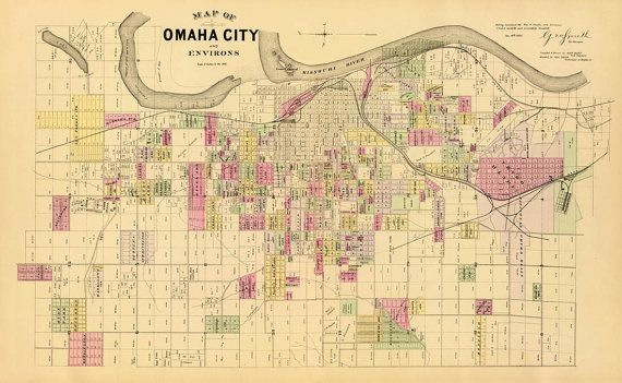 Omaha Nebraska Map Or Nick Vintage Map Of Omaha City Nebraska