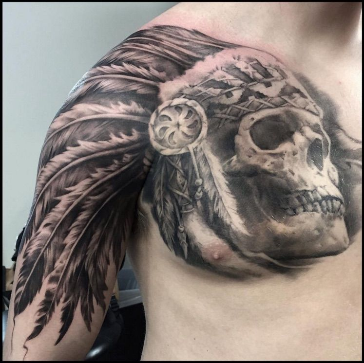 Native American Skull Headdress Tattoo Venice Tattoo Art Designs