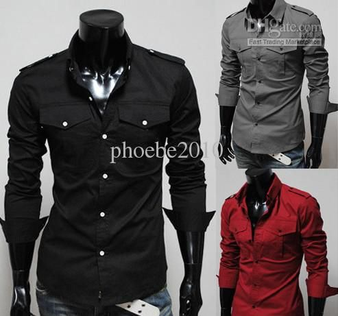 Wholesale--Mens Casual Shirts /Long-sleeve Slim Shirt red/black ...