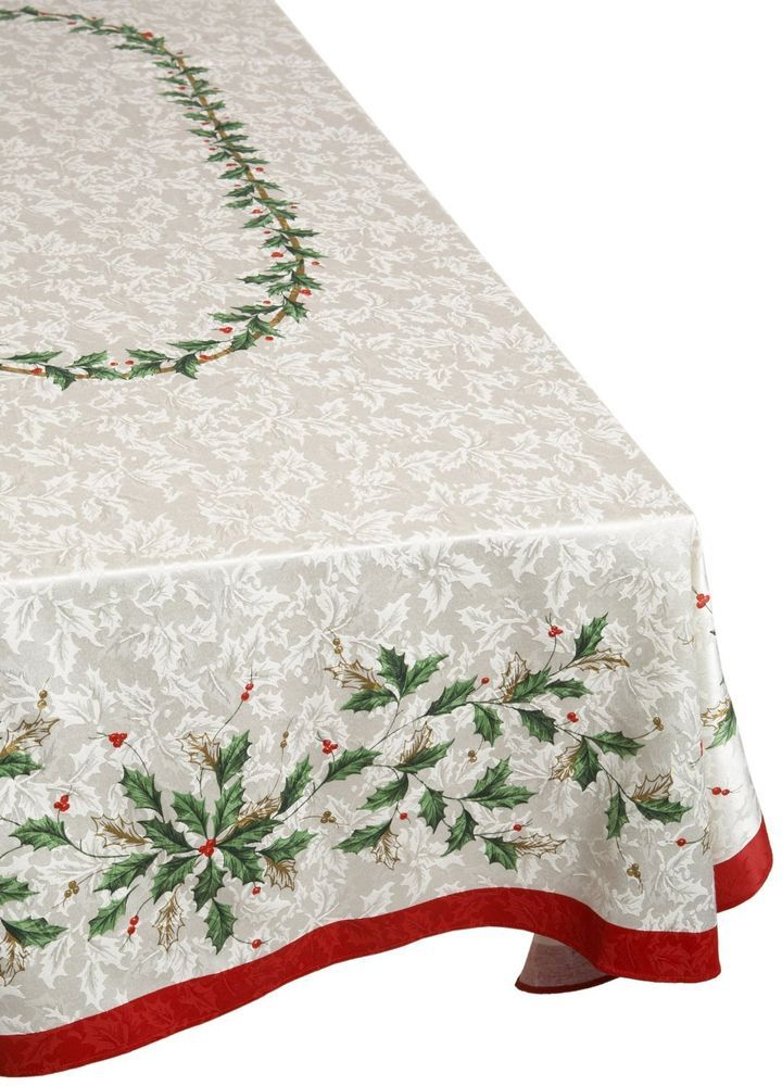 Lenox Christmas Holiday Holly Tablecloth Golden 60 X120 Oblong