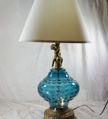 Elegant Small Blue Table Lamps, Vintage Table Lamp Blue Glass Cherub Accent  Nightlight Unusual Color Nice Look