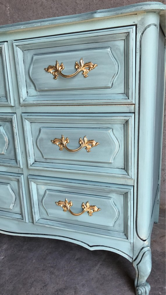 French Provincial Dresser And Nightstand Henry Link Teal Gold Chalk Paint