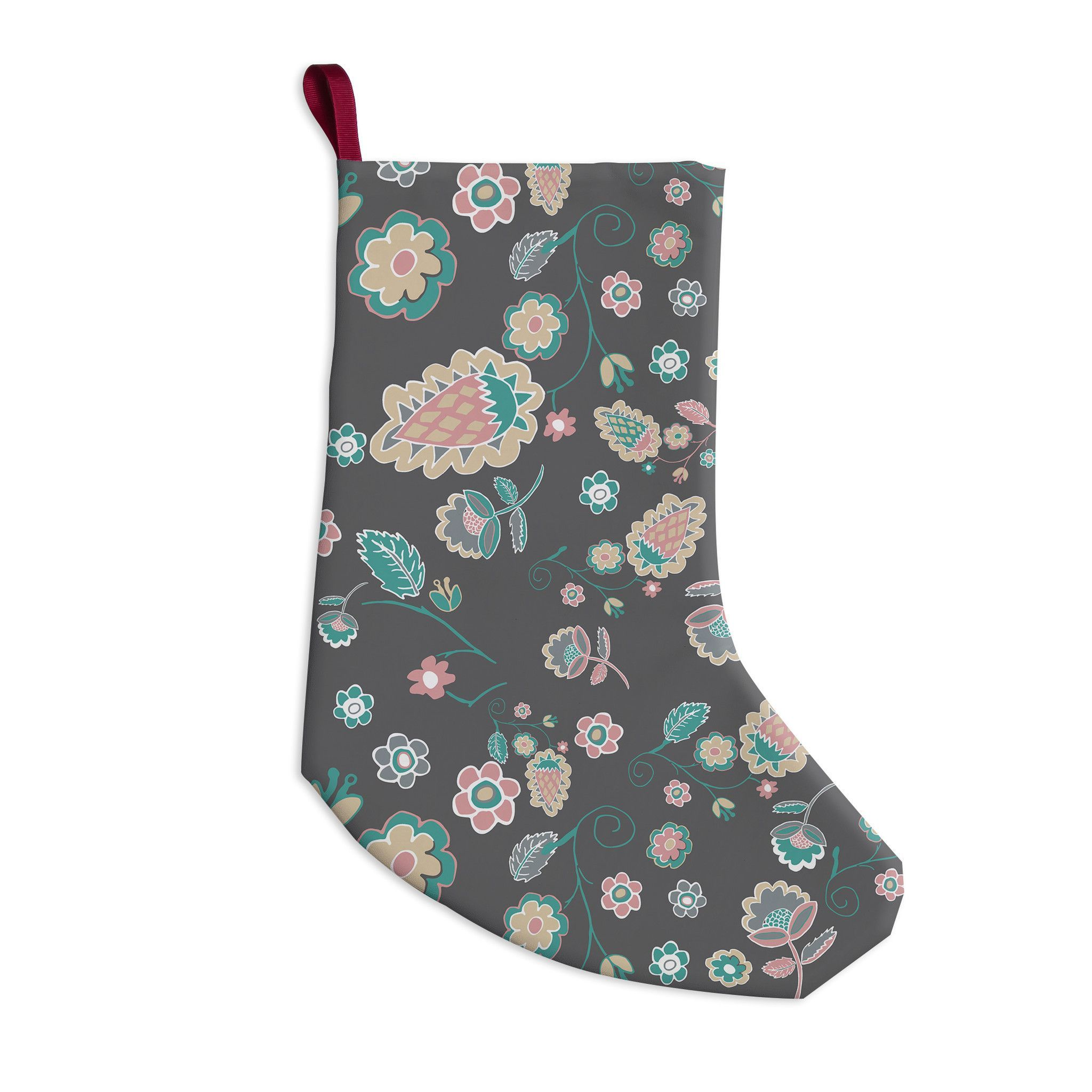 "Nika Martinez ""Cute Winter Floral"" Gray Pastel Christmas Stocking"
