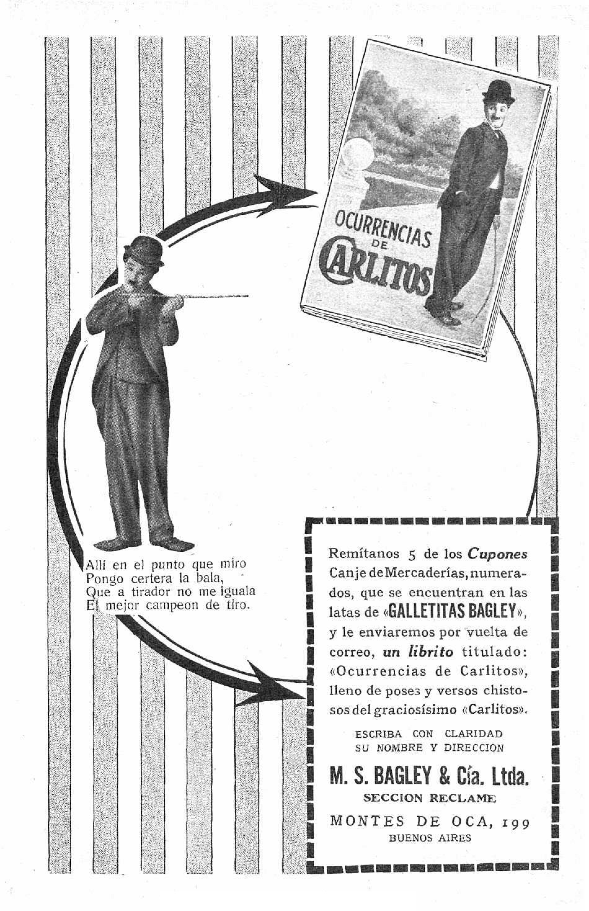 Bagley S Cookie Ad Tied To A Litte Book Featuring Charlie Chaplin  # Muebles Andre Kevin