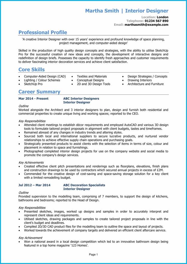 Interior designer CV example + writing guide [get hired