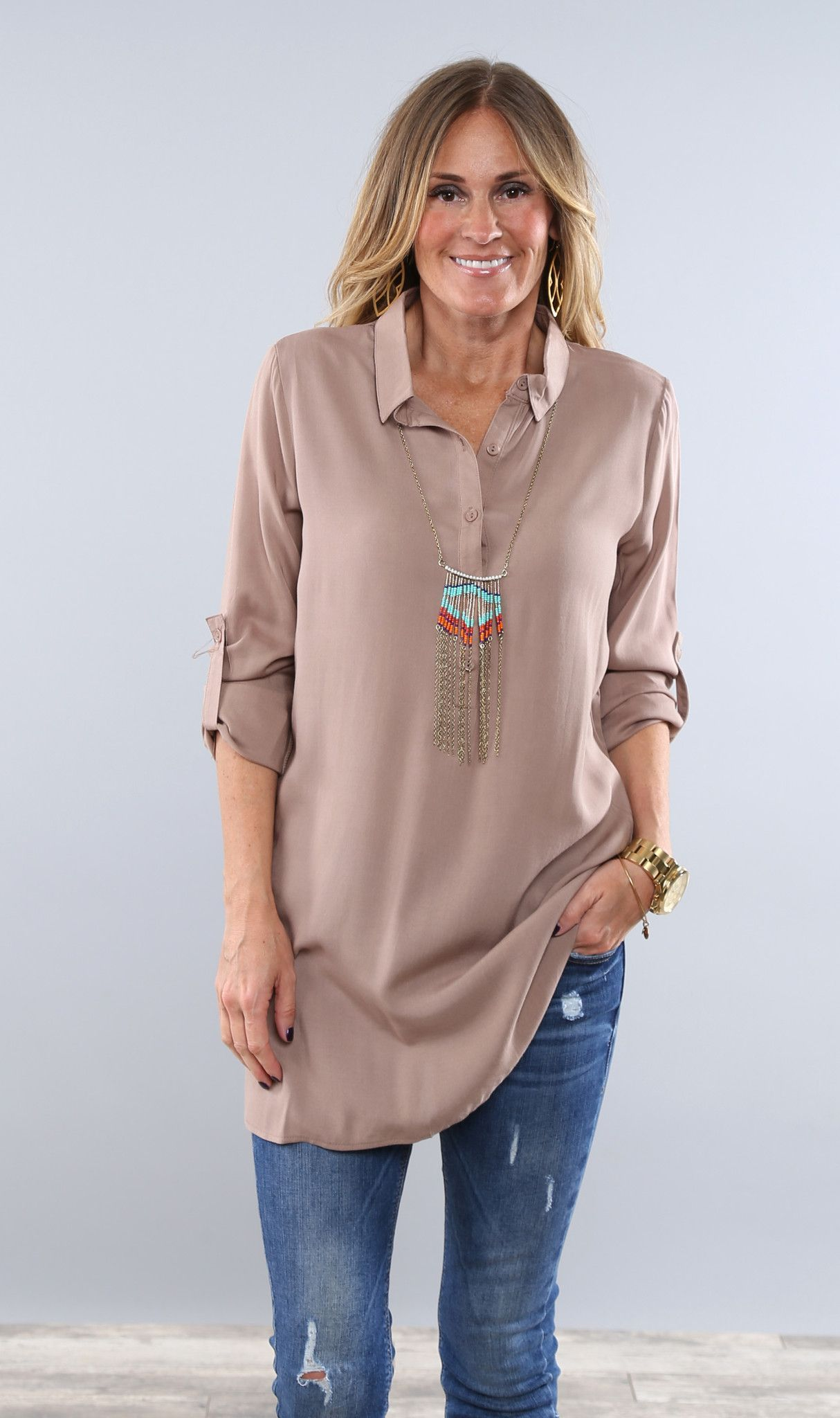 4b377059177 This is the perfect everyday dress shirt! You can wear it alone with denims  or leggings. But you can also dress it up with a necklace or scarf!