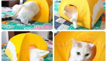 Como hacer una casita para tu gato con una percha y camiseta