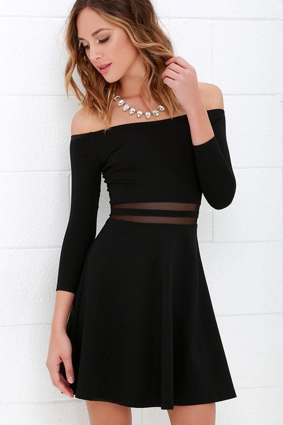 Slim Off Shoulder Long Sleeve Short Dress | Long sleeve short dress ...