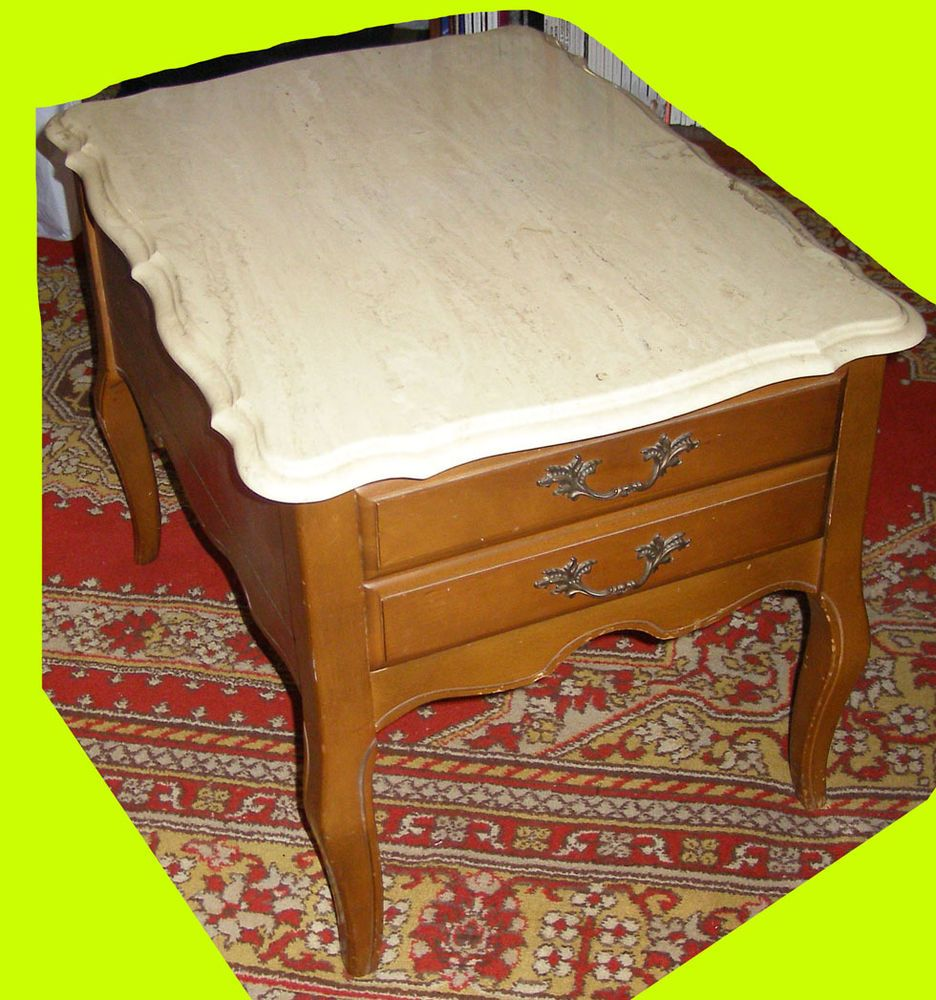 Marble Top Maple End Table By Hammary Co Mid Century Original Queen Anne 1950s