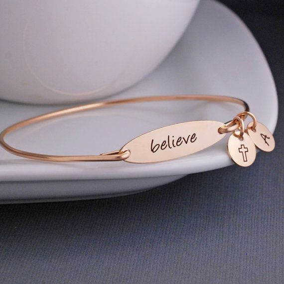 Oval engraved personal message bracelet rose gold handmade