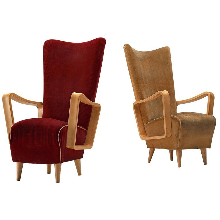 Danish Patinated Beech High Back Easy Chairs 1950s Chair