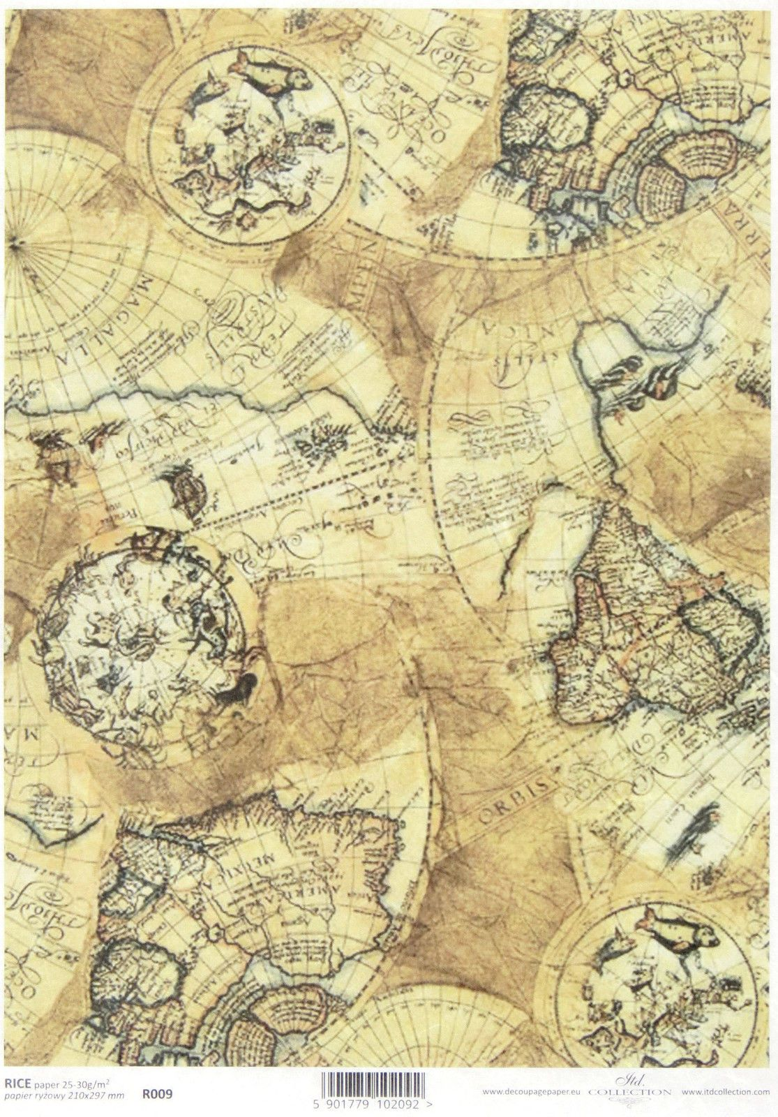 Rice Paper for Decoupage Scrapbooking Sheet Craft Vintage Old Map ...