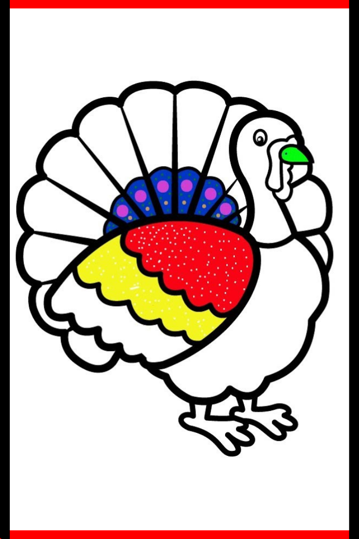 How to draw a turkey. Turkey coloring pages for kids ...