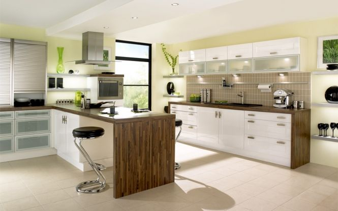Contemporary kitchen design with surprising splashes of green