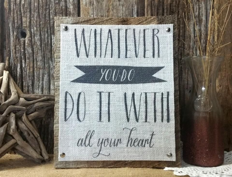 Inspiration Burlap Barn Wood Plaque Home Decor Nursery Rustic