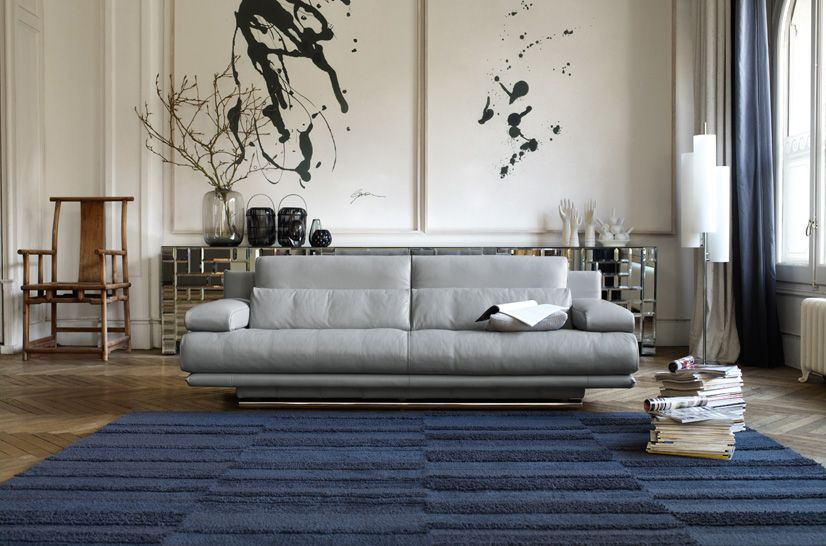 Modern Rolf Benz About For Living Room : Simple Fabric Grey Sofa Blue Carpet  Rolf Benz About Part 42