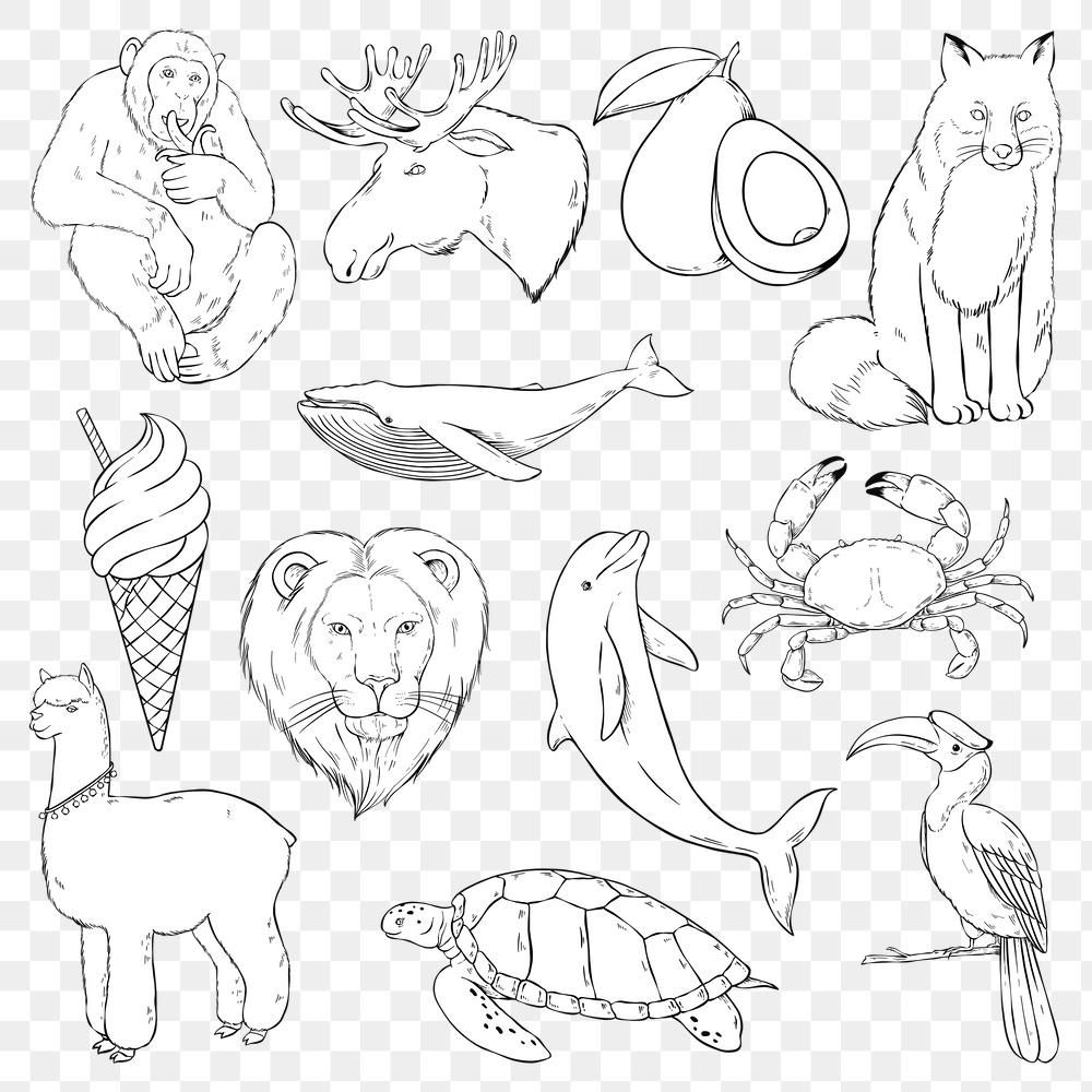 Png Animal Sticker Set Black And White Clipart Free Image By Rawpixel Com Noon Black And White Illustration Animal Stickers Sticker Set