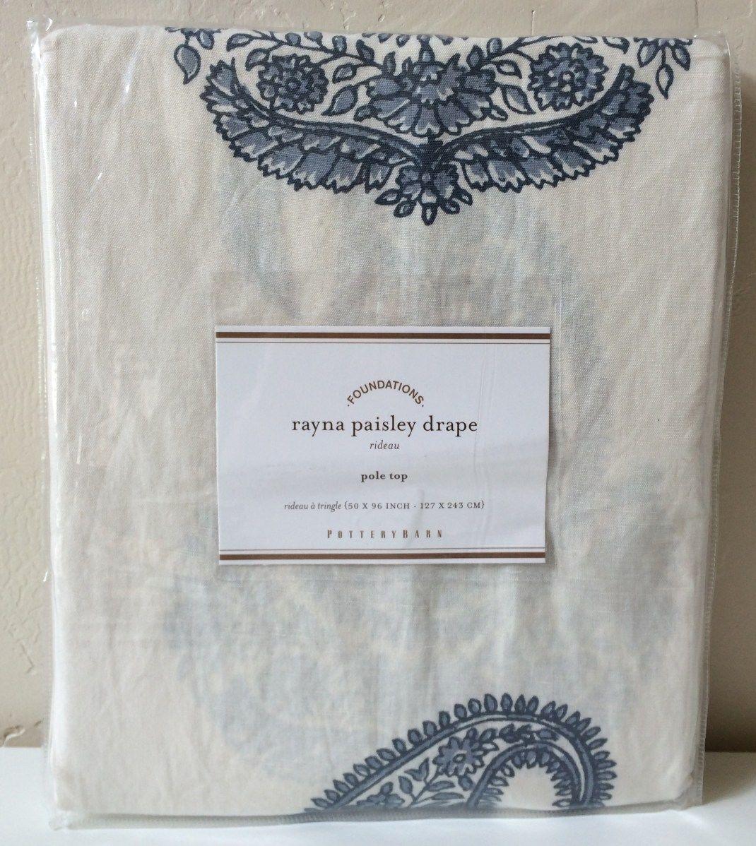 2 Pottery Barn Rayna Paisley Drapes Blue 50 X 96 034 New