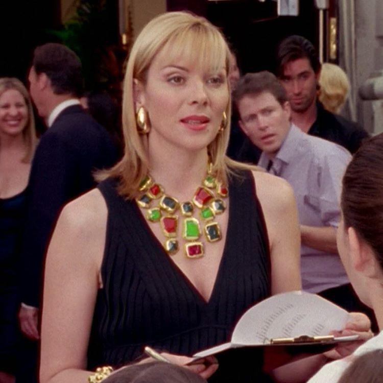 Samantha Jones wearing YSL jewelry