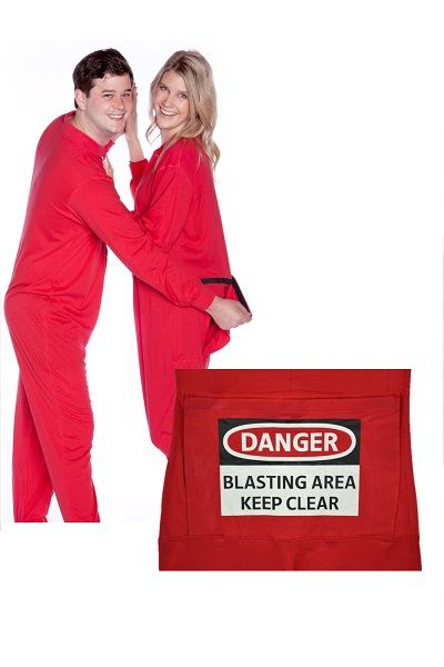 ef8b12547d Big Feet Pajamas Red onesie union suit has funny butt flap with a DANGER - BLASTING  AREA - KEEP CLEAR sign screen printed on the flap.