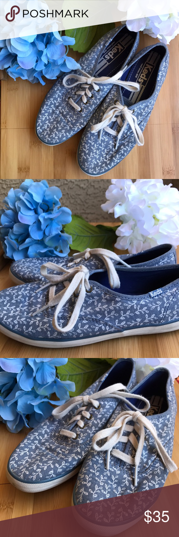 4f01d0ed38d2b Keds Blue Champion Botanical Leaves shoes Gorgeous like new Keds. Women s  Size 6. Beautiful
