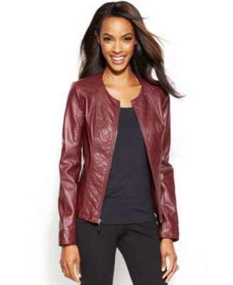 Alfani Quilted Faux-Leather Jacket | macys.com