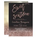Modern rose gold glitter typography Sweet 16 photo Invitation | Zazzle.com #sweet16birthdayparty
