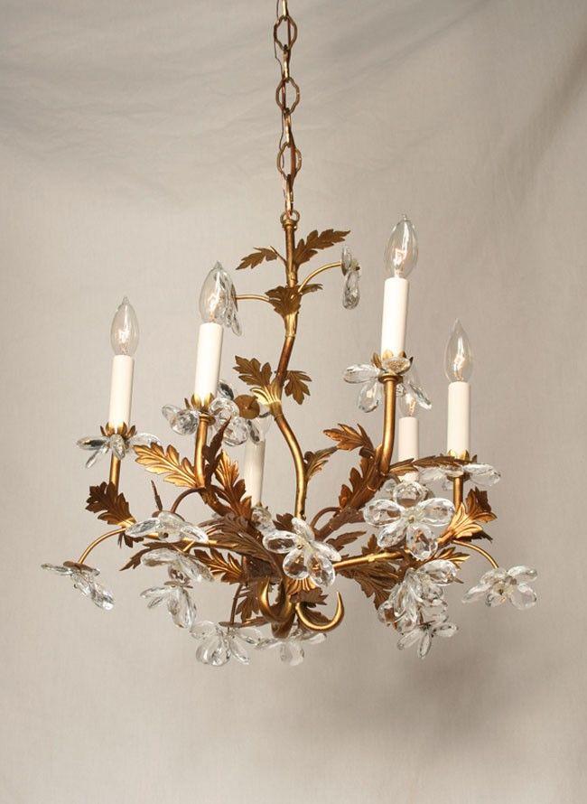 Vintage Italian Chandelier With Hand Set Crystal Flowers C 1945 Restoration Lighting Gallery